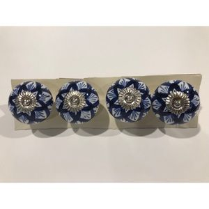 Blue and White Ceramic Knobs